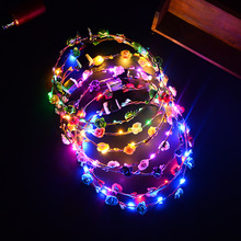 Direct manufacturers Led luminescence band snuff ring head hair ring Hawaii Lei scenic street vendor selling(China)