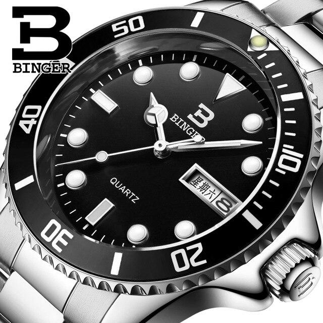 2017 Luxury Brand Binger Date Genuine Steel Strap Waterproof Casual Quartz Watches Men Sports Wrist Watch Male Luminous Clock<br>