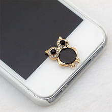 3D Silver Diamond Crystal Home Button Sticker For iPhone 4/5/5s/6 Apple Ipad Owl Shape