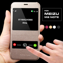 Luxury Coque For MeiZu M2 Note Case Hard Back Skin Mobile Phone Flip Leather Cover For MeiZu M2 Note Window Smart Calling