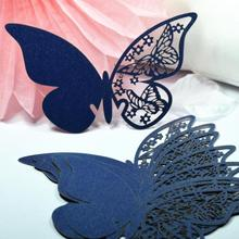 96pcs Butterfly Laser Cut Paper Place Card / Escort Card / Cup Card/ Wine Glass Card For Wedding Decoration Wedding Favors