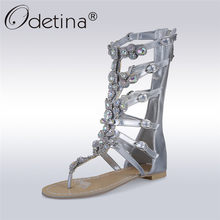 Odetina 2018 New Fashion Rhinestone Gladiator Sandals Crystal Women Flat  Summer Mid-calf Boots Gold Silver Shoes Big Size 35-50 d5f6bbfabb60