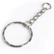 50pcs 25mm DIY Polished Silver Plated Keyring Keychain Split Ring with Short Chain Key Rings Fashion Car Bag Key Chains Jewelry(China)