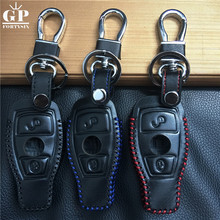 GPFORTYSIX In stock leather car key cover keychain case For Mercedes Benz Accessories W203 W210 W211 W124 W202 W204 AMG Keyring(China)