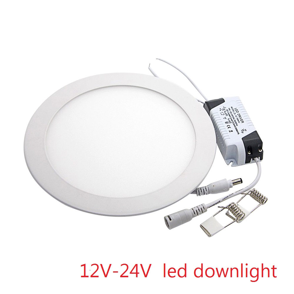 1pcs LED Ceiling Panel Light 3W 4W 6W 9W 12W 15W 25W High brightness LED Downlight with adapter AC/DC 12V 24V indoor Light(China)