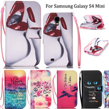 Lanyard Wallet Cases For Samsung S4 Mini PU Leather Cell Phone Flip Case Cover For Samsung Galaxy S4 Mini i9190 With Card Stand