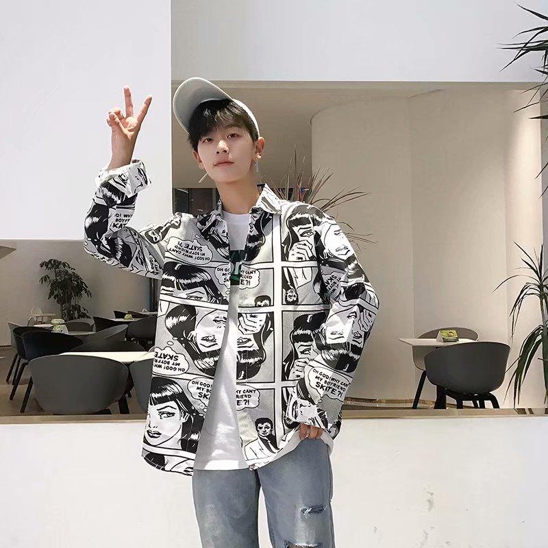 Shirts Men Turn-down Collar Plaid Simple All-match Loose Pockets Leisure Trendy Shirt Mens Ulzzang Korean Style Clothing Chic 42