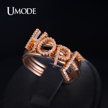 UMODE New Arrive Polish Sparking AAA Grade Tiny CZ Anillos Mujer Bague Jewelry Paved HOPE Four Letter Band Rings UR0073A
