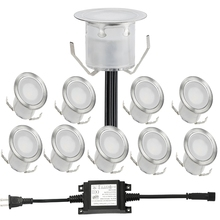 10pcs/lot 30mm Width Outdoor Garden Lighting IP67 0.6W LED Deck Light LED Underground Lamps Kit With 8W LED Driver(China)