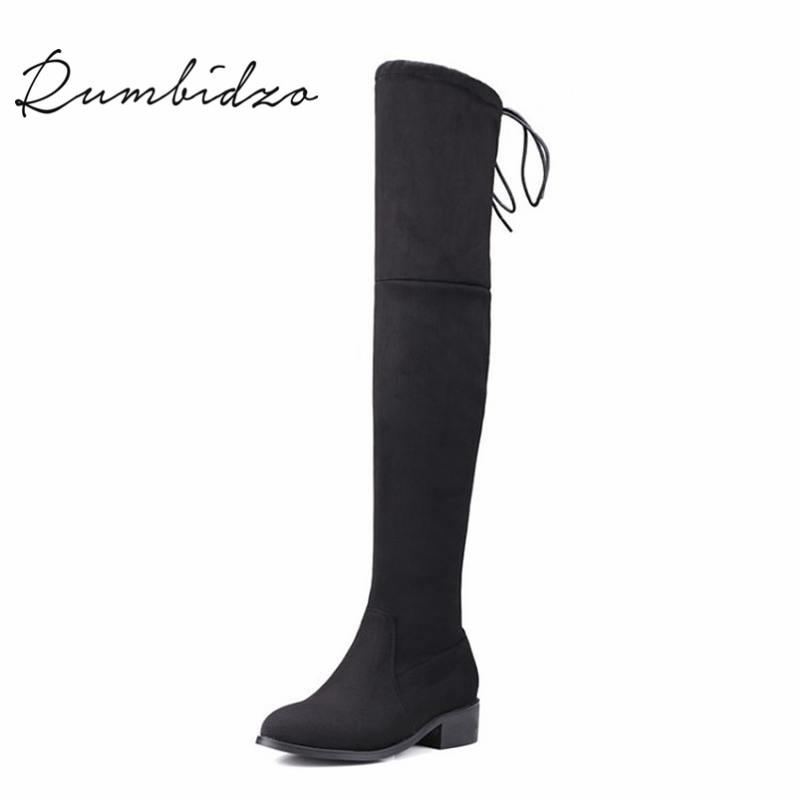 Rumbidzo 2017 Fashion Women Boots Winter Autumn Over Knee High Boots Lace Up Flat Heel Bootie Woman Shoes Botas Feminios<br>