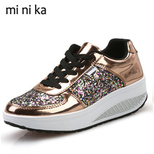 MINIKA Luxury Platform Women Flats Lace Up Casual Women Flat Shoes Fashion Spring Autumn Ladies Female Footwear 2017 SNE-774(China)