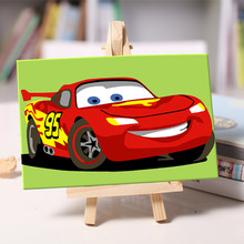 DIY oil Painting cool red car coloring By Numbers children student Hand painted with easel Home Bedroom Decoration 10*15-11078(China)