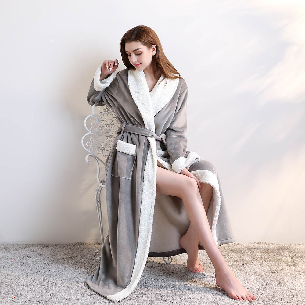 Winter Long nightgown pajamas Soft Flannel Bathrobe Full Length Nightwear Housecoat with Belt Unisex Sleep  Lounge Robes