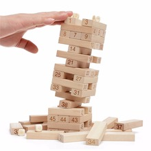51 Piece 25CM Tall Wooden Stacking Puzzle Game Genga children building blocks family board game(China)