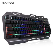 RAJFOO 7 Colorful Backlight English Gaming Keyboard for PC Laptop Macbook with Floating Keycap LED Backlit USB Teclado Gamer(China)
