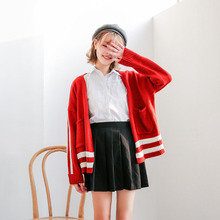 Dandeqi New White Striped Women Sweater Casual Girl Cardigan Sweater Long Sleeve Lady Tops Pocket Spring Autumn Navy Red XW5132(China)