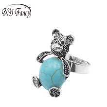 XY Fancy Vintage Style Cute Bear Shape Blue Stone Ring Striking Tibetan Silver Big Ring Gift The latest Elegant Female Ring zk15(China)