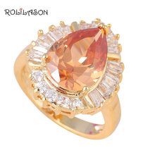 Huge fashion Jewelry Nickel & Lead Free Austrian Crystal Champagne AAA Zirconia gold tone Element Ring size #8 #7 KR249(China)
