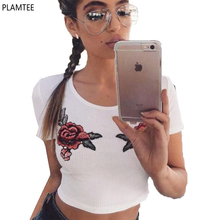Summer Rose Embroidered Short Knitted T-Shirt Womens Slim Short Sleeve Cropped Tops Spring Small Sexy Beige T Shirt High Quality