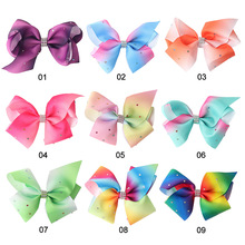 2017 12cm Big bowknot hairpins with diamond girl barrette large colorful bow hair clip jojo Hair Accessories(China)