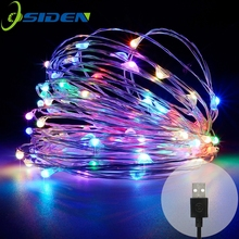 string led lights 10M 33ft 100led 5V USB powered outdoor Warm white/RGB copper wire christmas festival wedding party decoration(China)