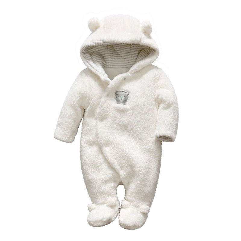 Vlinder Newborn baby clothes bear baby girl boy rompers hooded plush jumpsuit winter overalls for kids roupa menina<br>