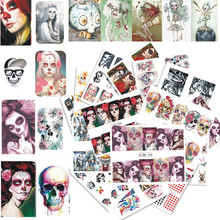 24 Sheets Nail Sticker Halloween Skull Bone Ghost Theme Decals Set for Manicure Full Cover Watermark Nail Art Decor CHBN181-204(China)