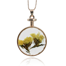 fashion round glass dry flower necklace Handmade glass dome flower pendant golden wedding decoration long chain necklace(China)