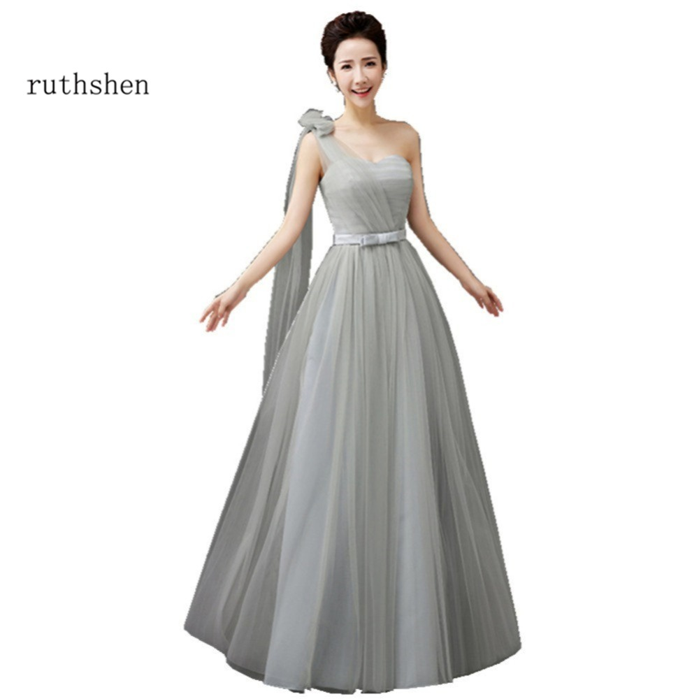 Gray purple bridesmaid dresses promotion shop for promotional gray ruthshen bridesmaid dresses one shoulder pink purple blue champagne gray long wedding guest dress bridesmaid party gowns ombrellifo Gallery