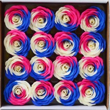 16PCS 7CM Colorful Soap Rose Flower With Gift Box Rainbow Artifical Flower Head For Valentine's Day Gift Wedding Decoration