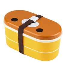 High Quality 1 Set Plastic Bento Lunchbox Brown Color Cutlery Set Microwave Rilakkuma Bento Multilayer Children  Bento Box