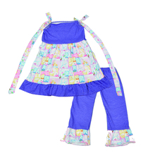 Easter Baby New Design Lovely Purple Baby Girl Dress Bunny Pattern Polka Dots Ruffle Pants Children Clothing Set  E014