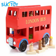 Educational Soft Montessori wooden toys for children Big London bus with gift box block for brinquedos speelgoed jouet