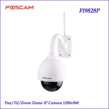 Foscam FI9828P Wireless Outdoor PTZ IP Dome Camera 3x Zoom 960P 70 degree View 60-Sec Setup Security Monitoring IP Camera