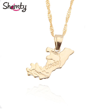 Shamty Brazzaville The Republic of Congo Map Pendant Chain Pure Gold Color Congo Brazzaville Map Congo Symbol Patriotic Jewelry