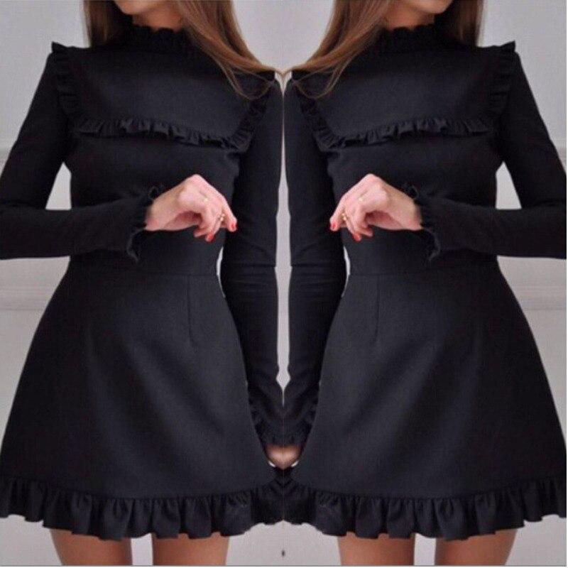 2017-Autumn-Women-Fashion-Ruffles-Dress-Casual-Turtleneck-Butterfly-Sleeve-dresses-Elegant-Party-Long-sleeve-female (2)