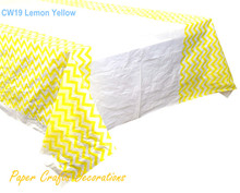 "108*180cm (70"" * 43"") Lemon Yellow Chevron Rectangle Plastic Tablecloths Table Cover Baby Shower Kids Party Decorations"