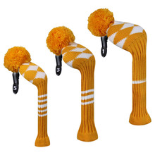 Orange Argyle Style Knit Golf Headcovers set of 3 for Driver Wood, Fairway and Hybrid,