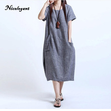 Nicelegant 2018 Women Dress Looss Plus Large Size Fat MM Was Thin Cotton Linen Pregnant Women Clothes Casual Fashion Dresses(China)