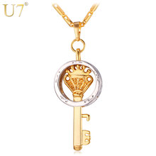 U7 Trendy Key Pendant Necklace Gold Color Fashion Jewelry Party Peace Symbol Pendants Necklaces P567(China)