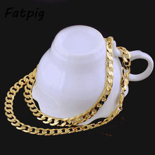 "1Piece  Yellow Gold Filled 20"" 7MM Men Women Jewelry Chain Punk Cool Necklace"
