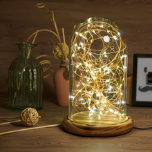Modern Table Lamp LED Line Light Coffee Shop Table Light Simple Glass Cover Wood Base USB LED Desk Lamp for Bedroom Bar