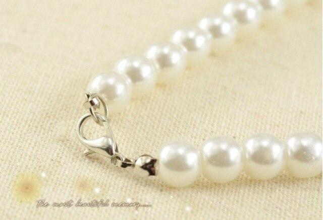 Faux Pearl Crystal Choker Necklace Earring Bracelet Jewelry Set (White) (3)