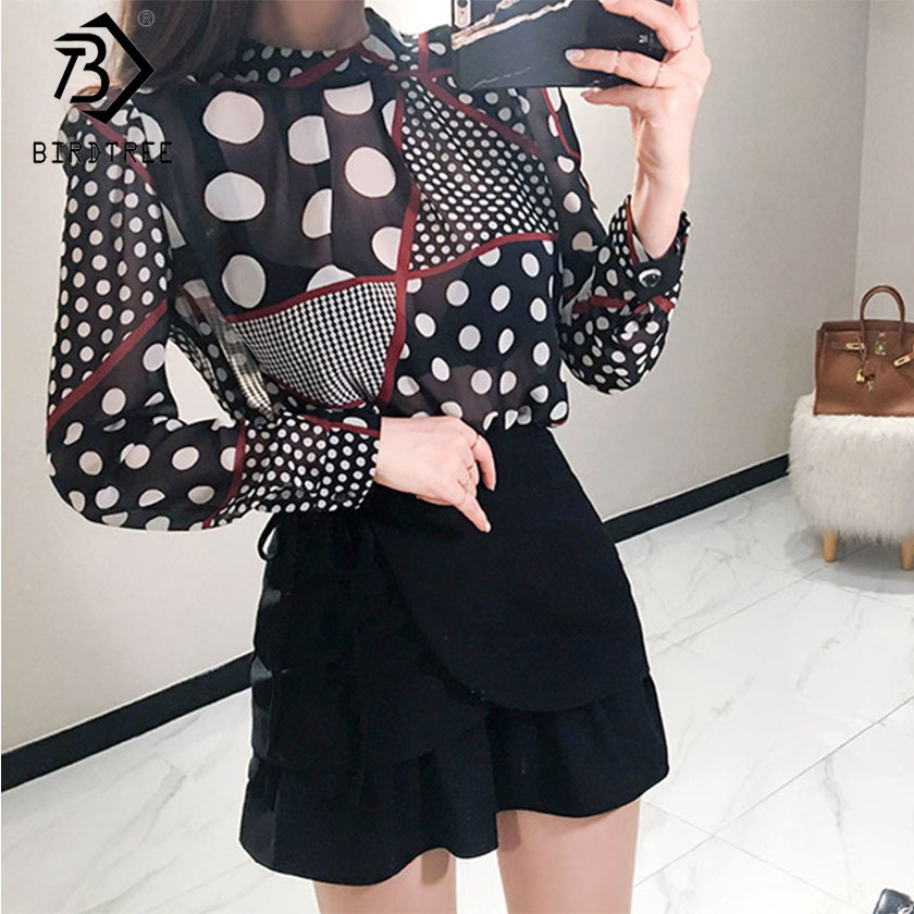 Spring New Fashion Women Sets Dot Top High Waist A-Line Black Ruffles Lace up Skirt Elegant Office Lady Sets S8D425I