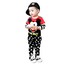 Baby boys clothing sets autumn kids clothes cartoon Mickey Mouse long sleeve t-shirt +pants sports suit for baby girl clothes