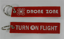 Drone Zone Turn On Flight Factory Price Fabric Keychains Made By Twill + Ring With Merrow Border Accept Custom(China)