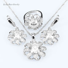 L&B Australia White Rhinestone White CZ 925 lOGO Silver Color Jewelry Sets For Women Bridal Necklace/Pendant/ Earrings/Ring(China)
