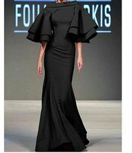 Black Mermaid Evening Dresses Poet Sleeves Floor Length