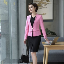 Buy AidenRoy Formal Womens Business Suits Office Uniform Deisgns Women Dress Suits Ladies Pink Blazer Jacket Sets suit dress for $45.60 in AliExpress store