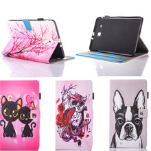 Hot Sale Tablet Stand Cover For Samsung Galaxy Tab E 9.6 T560 T561 SM-T560 PU Leather Painting Dog Panda Case with Card Holder